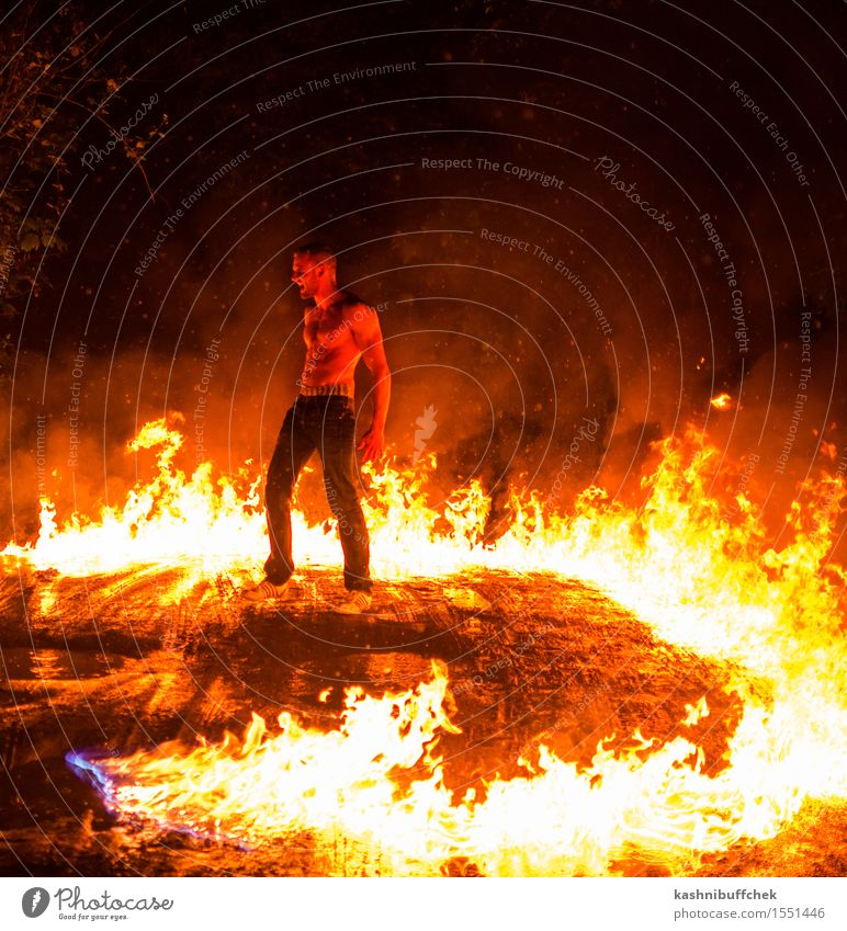 Gettin' Hot Masculine Young man Youth (Young adults) Body Skin Stomach Muscular 1 Human being 18 - 30 years Adults Shows Fire Water Bad weather Warmth