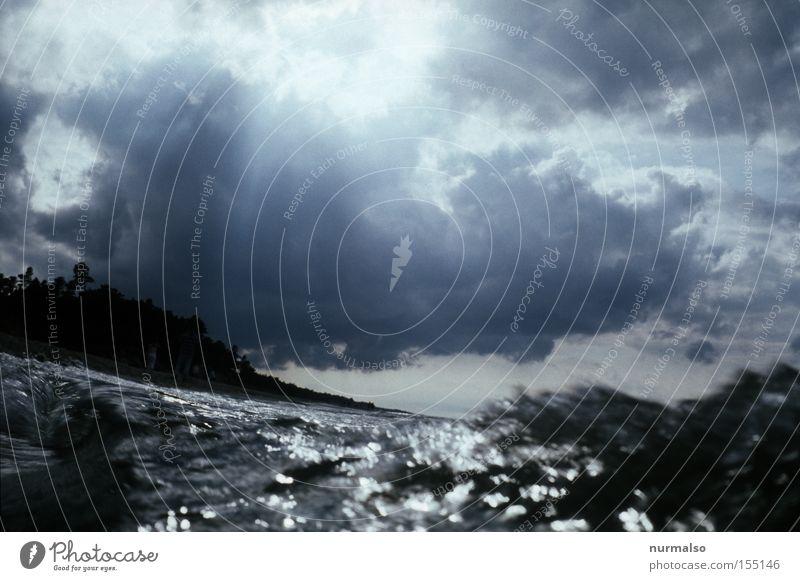 The Wave Waves Baltic Sea Ocean Water Beach Salt Dive Cloud formation Rain Summer Europe Wave crest. Poland
