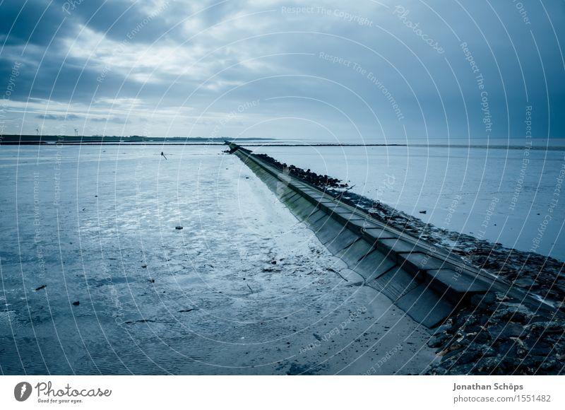 Sky Nature Heaven Blue Water Ocean Relaxation Clouds Calm Beach Coast Stone Vantage point Concrete North Sea Footbridge