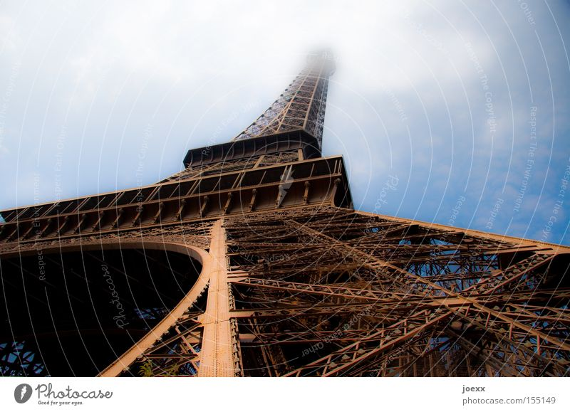 Old Sky Clouds Perspective Tower Paris Monument France Historic Landmark Scaffold Eiffel Tower