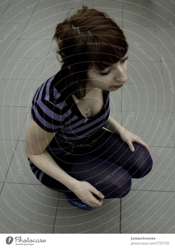Woman Break Violet Stripe Fatigue Boredom Feeble Striped Exhaustion Crouch Knee Kneel Posture Crouching Crouching position