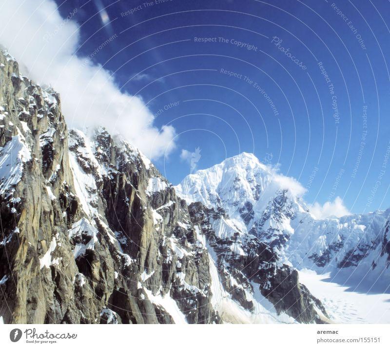 high-altitude exhilaration Mountain Snow Peak Winter Landscape Sky Clouds Alaska USA