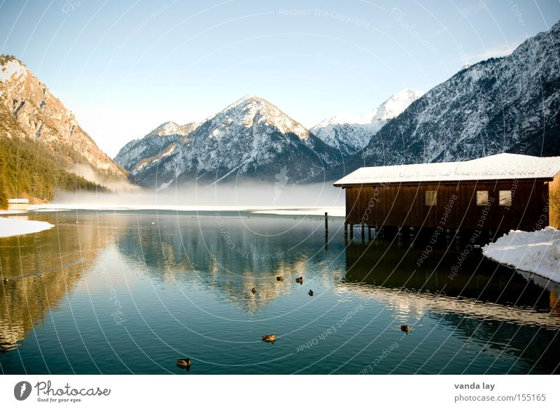 Lake Heiterwang VIII Boathouse Winter Moody Cold Fog Mountain Reflection Duck Snow Frozen To go for a walk Landscape Alps Austrian Alps German Alps Swiss Alps