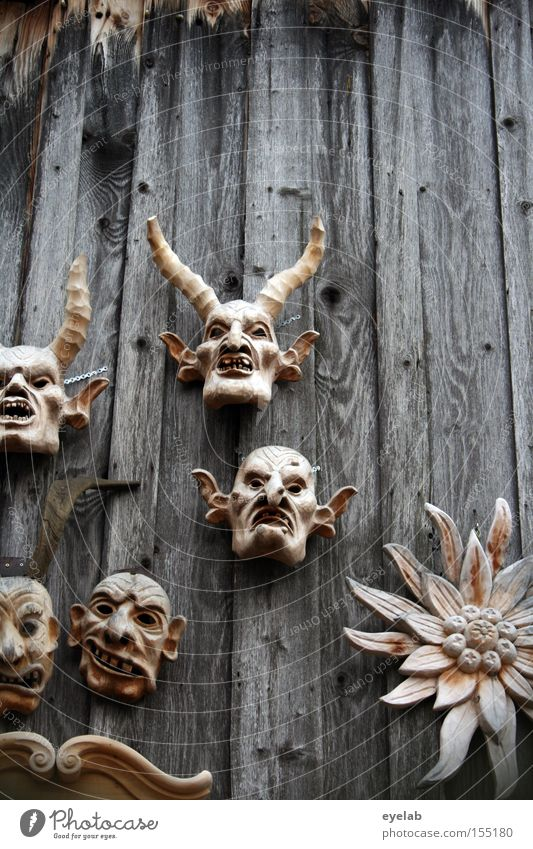 Honey bring mea oa edelwois ! Mask Wall (building) Wood Carving Art Arts and crafts  Face Monster Tradition Allgäu Flower Detail Obscure nobly