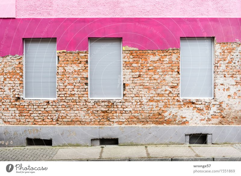 City Old Colour House (Residential Structure) Window Wall (building) Wall (barrier) Gray Brown Facade Pink City life Beginning Violet Apartment Building Plaster