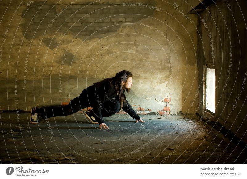 Man Beautiful Black Loneliness Dark Cat Room Concrete Derelict Mysterious Hollow Location Flare Creep