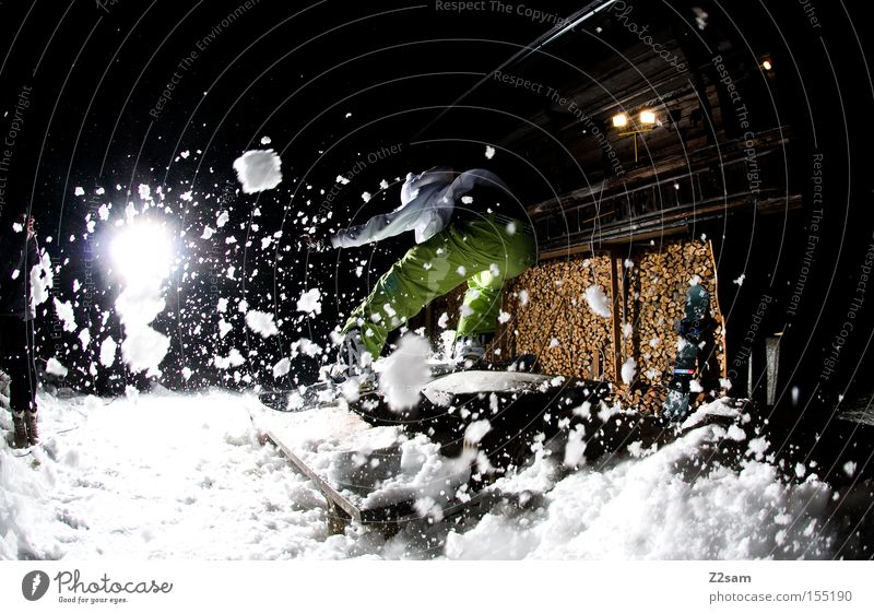 Backside boardslide SPLASH | sour cream and onion Boardslide Style Night Light Winter sports Wood Freestyle Jump Action Snowflake Human being backside Bench jib