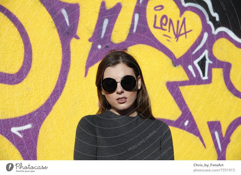 chris_by_photoart Young woman Youth (Young adults) Woman Adults 1 Human being 18 - 30 years Esslingen district Sports ground Sweater Sunglasses Brunette