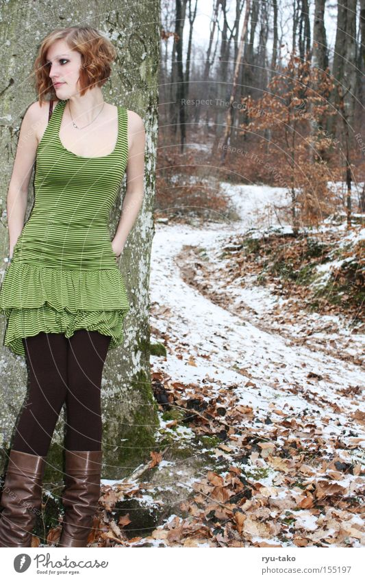The one with the green dress Woman Winter Snow Forest Cold Leaf Tree Green Boots Lanes & trails Lean Wait Think Elf Fairy