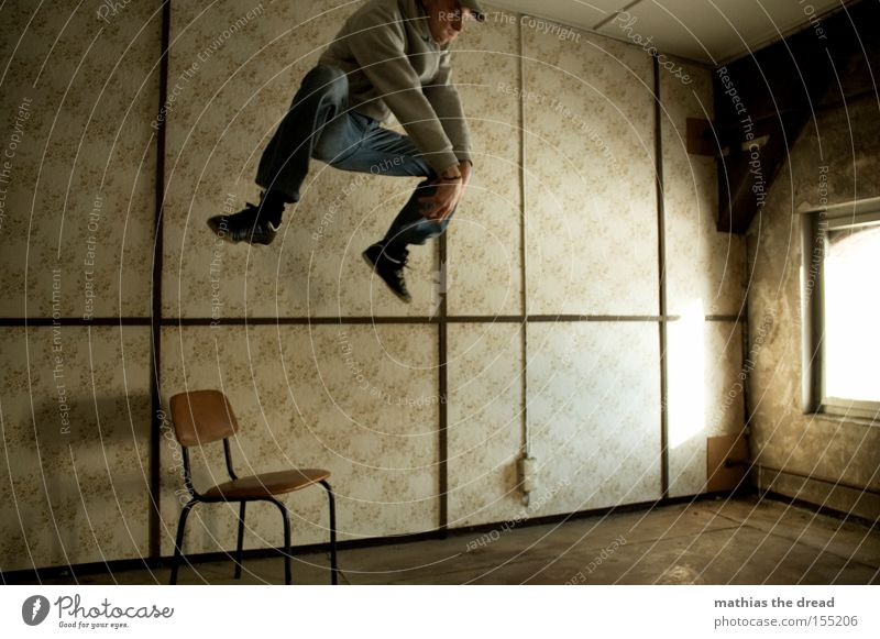 Bunny hop Jump Action Tension Tall Dangerous Attack Flying Fighter Room Window Sunlight Chair Wallpaper Line Whimsical Crazy Derelict Extreme sports Man Threat