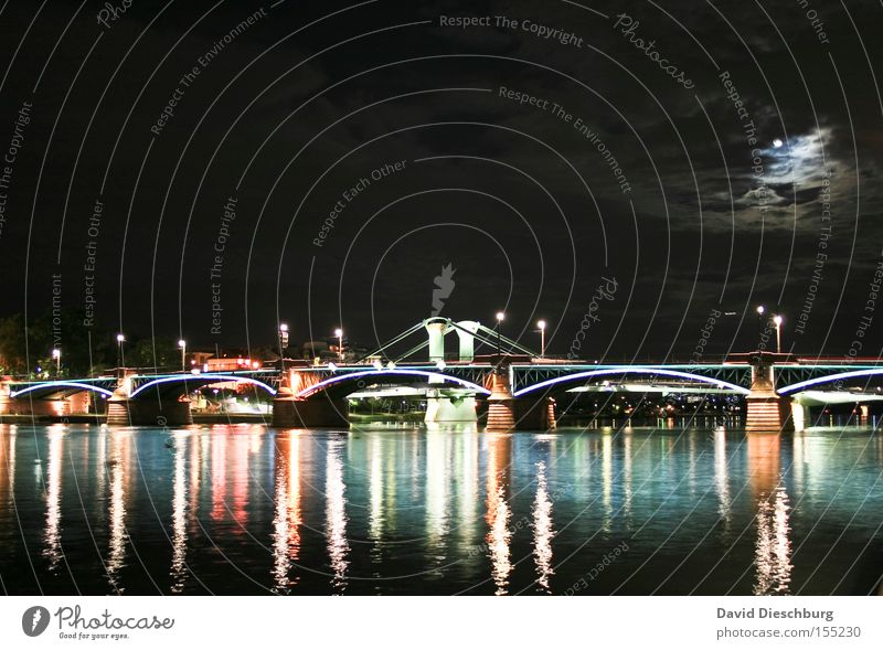 Bridge in the moonlight Light River Water Night Evening Moon Moonlight Clouds Lamp Reflection Frankfurt Main Long exposure Celestial bodies and the universe
