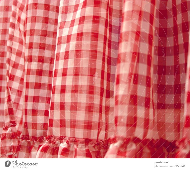 A red and white plaid curtain. Curtain. Ruffles. Old-fashioned Style Design Living or residing Flat (apartment) Decoration Room Living room Bedroom cake