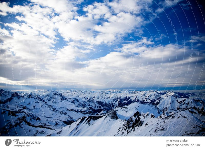 2973m a.s.l. Panoramic view from the Schilthorn in southwest direction Peak Mountain Alpine Clouds Cold Bernese Oberland Switzerland Winter Snow reed horn
