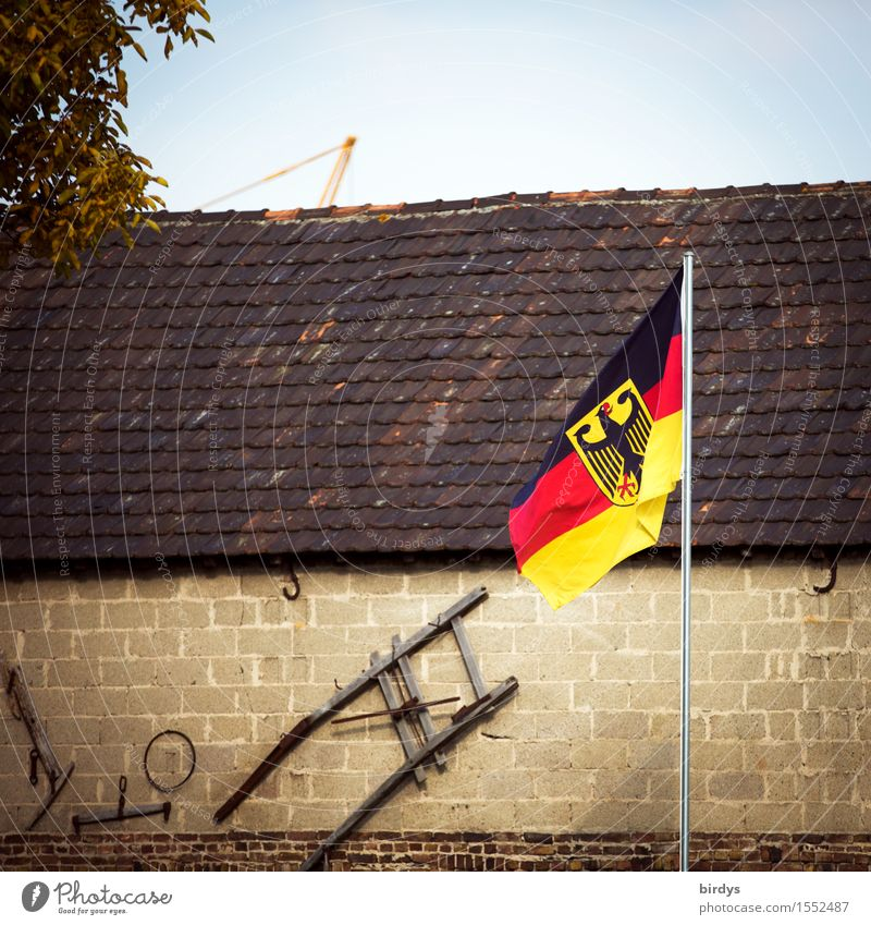 village German Cloudless sky Tree Germany German Flag Village House (Residential Structure) Building Wall (barrier) Wall (building) Roof Decoration Sign
