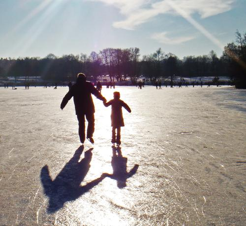 iridescent pond Winter Ice-skates Lake Pond Sun Sky Ice-skating Shadow Tree Winter's day Winter sports Air Playing