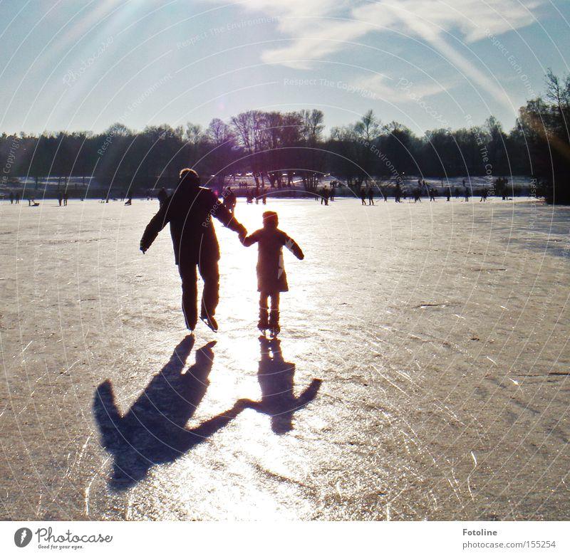 Sky Tree Sun Winter Playing Lake Air Ice Pond Winter sports Ice-skating Ice-skates Winter's day