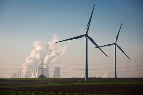 The alternatives to lignite Technology Energy industry Renewable energy Wind energy plant Coal power station Cloudless sky Climate change Field Industrial plant