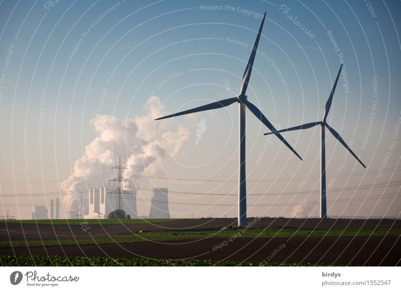Work and employment Horizon Field Energy industry Authentic Technology Threat Beautiful weather Change Hope Smoking Wind energy plant Cloudless sky Relationship