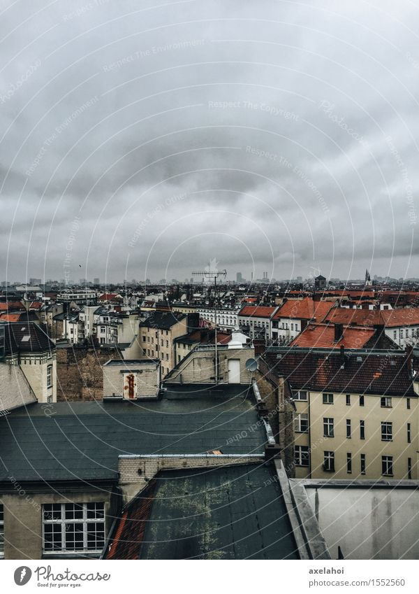 Above the roofs of Berlin Neukölln Klunkerkranich Clouds Storm clouds Germany Town Capital city Downtown Outskirts Old town Skyline