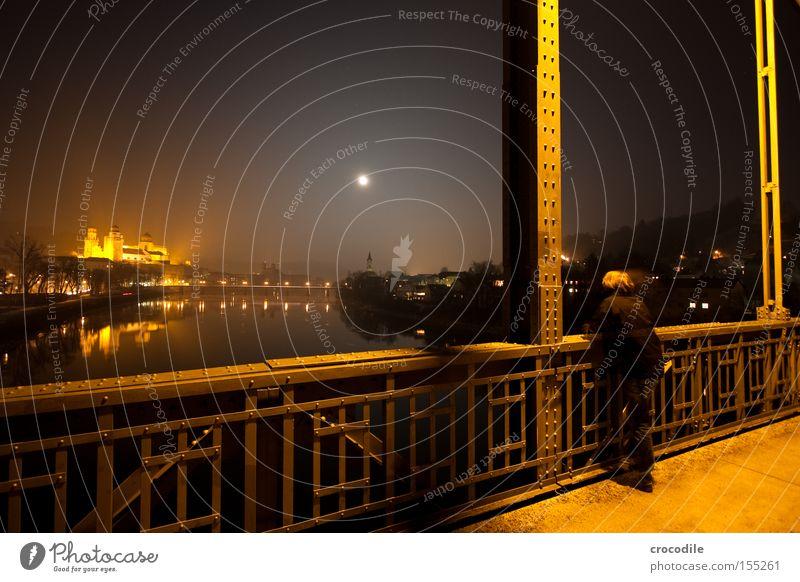 Man Beautiful Loneliness Street Dark Orange Bridge River Vantage point Steel Moon Dome Inn Passau