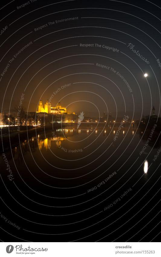 Dark Lighting Bridge Church River Peace Moon Dome House of worship Danube Passau
