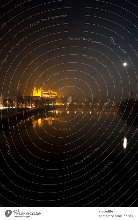 innides Passau Danube Bridge Moon Dome Church Lighting River Night Dark House of worship Long exposure Peace