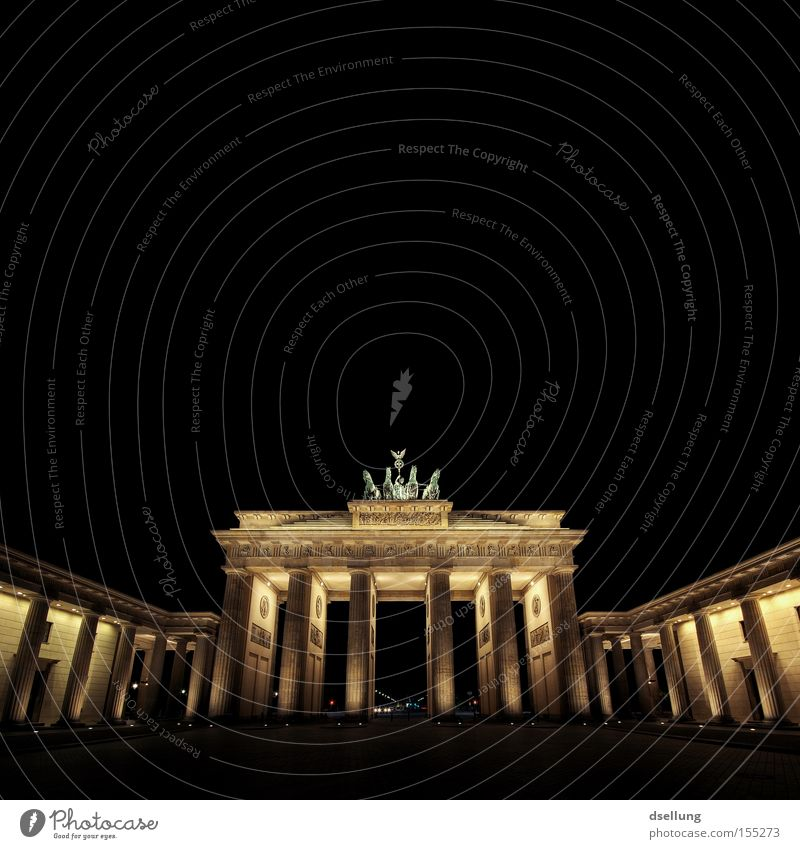 Brandenburg Gate at night Colour photo Exterior shot Deserted Copy Space top Neutral Background Night Artificial light Light Shadow Contrast Long exposure