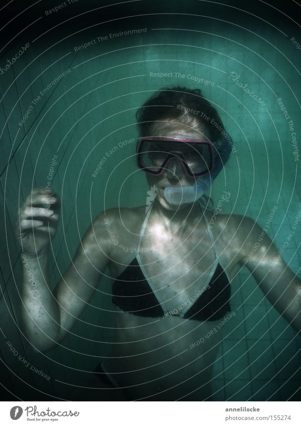 Woman Water Vacation & Travel Joy Swimming & Bathing Dirty Swimming pool Underwater photo Hotel Dive Aquatics Dreary Diving equipment Diving goggles