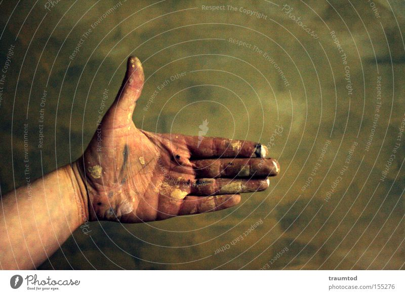 Hand Colour Wall (building) Dye Dirty Fingers Communicate Brick 5 Depth of field Thumb Gesture Forefinger Middle finger Ring finger