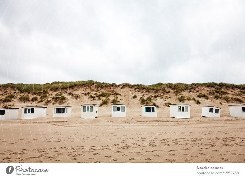 bathhouse Vacation & Travel Tourism Summer vacation Beach Ocean Nature Landscape Sand Sky Clouds Spring Bad weather Rain North Sea Hut Far-off places Funny