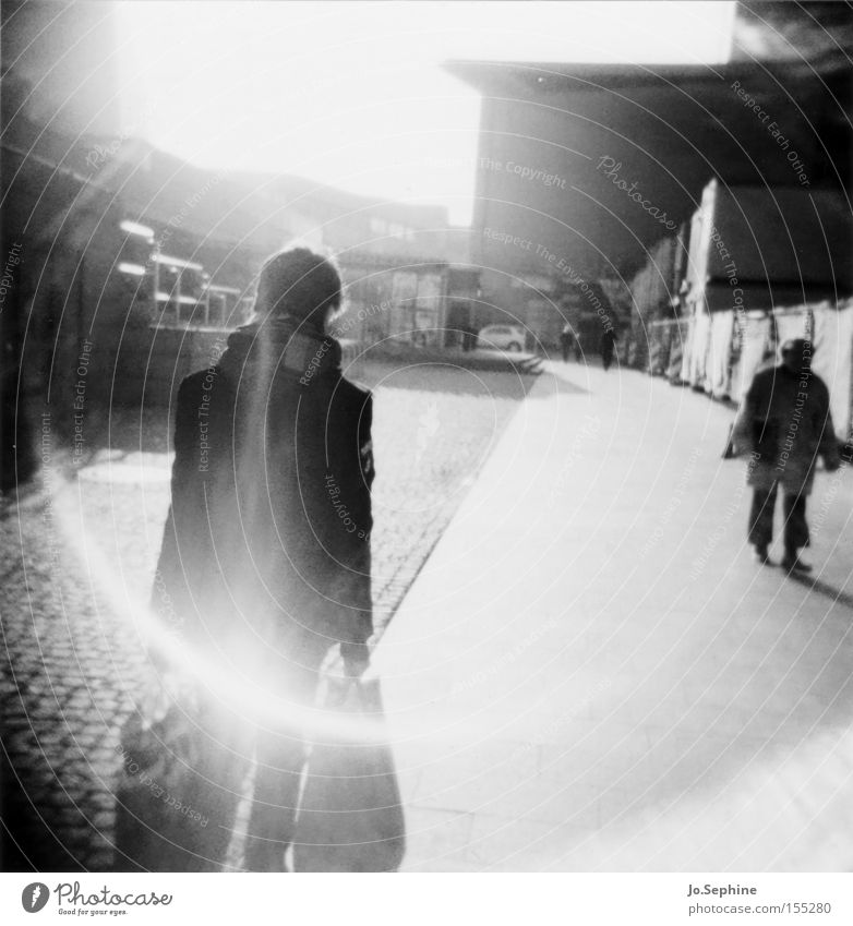 home is (where you carry your bags to) Shopping Human being Man Adults 2 Leipzig Going Carrying Augustus square Halo Roll film Medium format Point of light