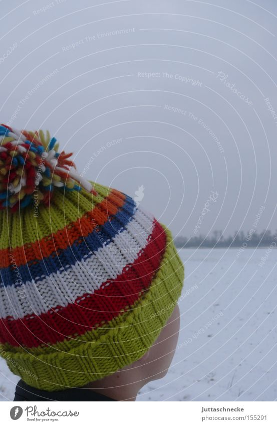 pom-poms Cap Tuft Cold Winter Child Boy (child) Stripe Striped Multicoloured Woolen hat Snow Ice Contentment Juttas snail Youth (Young adults)