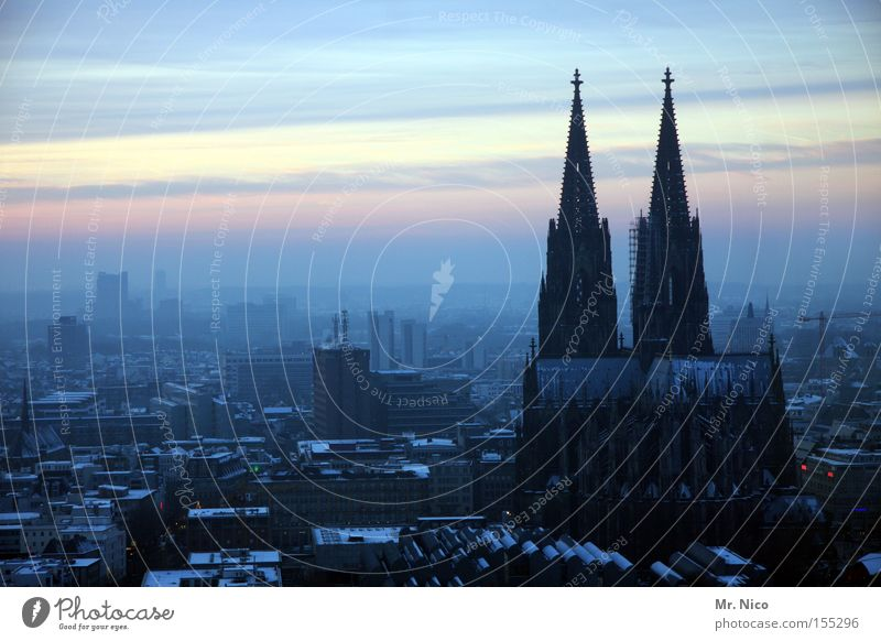 Homeland series (2) Sky Horizon Climate Fog Town Downtown Dome Manmade structures Landmark Monument Blue Cologne Cologne Cathedral Home country Sunset