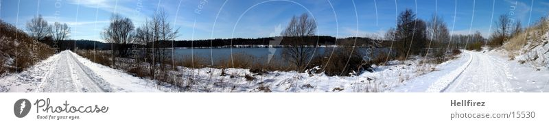 Sun Winter Snow Landscape Reservoir Lausitz forest