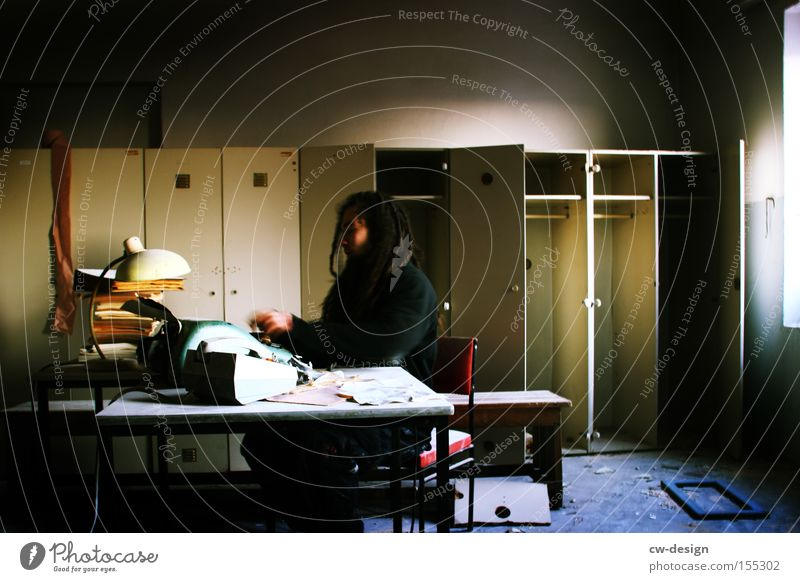 Dark Window Business Room Book Desk Services Fatigue Stress Shabby Cupboard Clerk Typewriter Media Call center Office work
