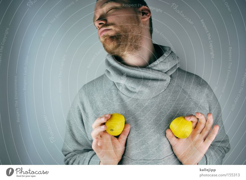 Human being Man Adults Healthy Fruit Individual Lemon 30 - 45 years Designer stubble Unshaven Vitamin Hooded sweater Vitamin C Bright background