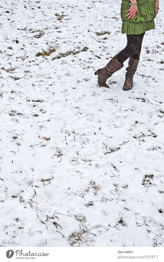 Shall I...? Woman Winter Snow Cold Dress Green Legs Meadow Timidity Freeze Hand Boots