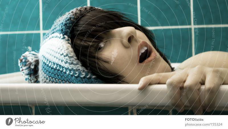 bathtub campaign Face Bathroom Woman Adults Hand Cap Blue Turquoise Tile Drown Colour photo Portrait photograph Looking into the camera Squint