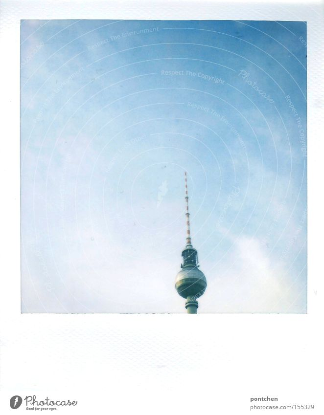 Polaroid berlin television tower upper part. Cloudy sky Colour photo Exterior shot Deserted Copy Space left Copy Space right Copy Space top Copy Space bottom