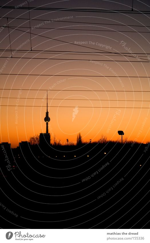 BERLIN SKYLINE VS. SUNSET Berlin TV Tower Television tower Transmitting station Alexanderplatz Downtown Berlin Landmark Sphere Mystic Town Beautiful Idyll Sky