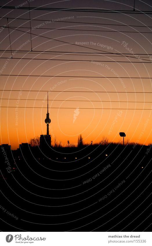 BERLIN SKYLINE VS. SUNSET Berlin TV Tower Television tower Transmitting station Alexanderplatz Downtown Berlin Landmark Sphere Mystic Town Beautiful Idyll Sky