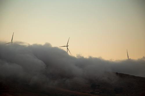 Total nebulised Beater Wind energy plant Nature Elements Clouds Weather Fog Peak Work and employment Movement Rotate Esthetic Exceptional Yellow Power Effort