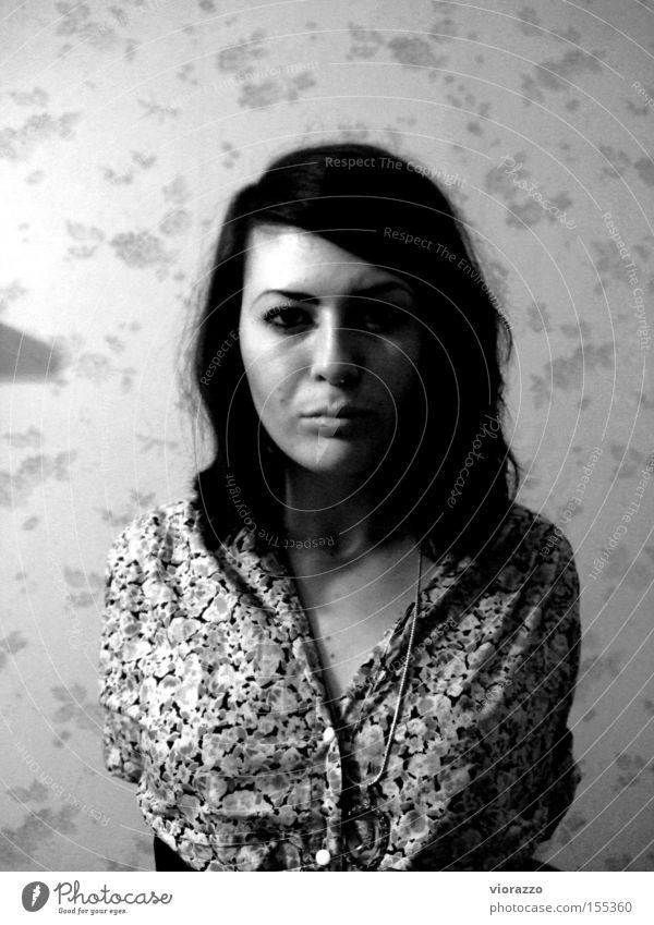 weasel. Portrait photograph Woman Black & white photo face flower dress hello