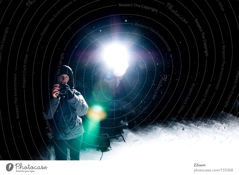 Woman Blue Winter Loneliness Dark Cold Snow Stand Camera Photographer Floodlight Hooded (clothing)