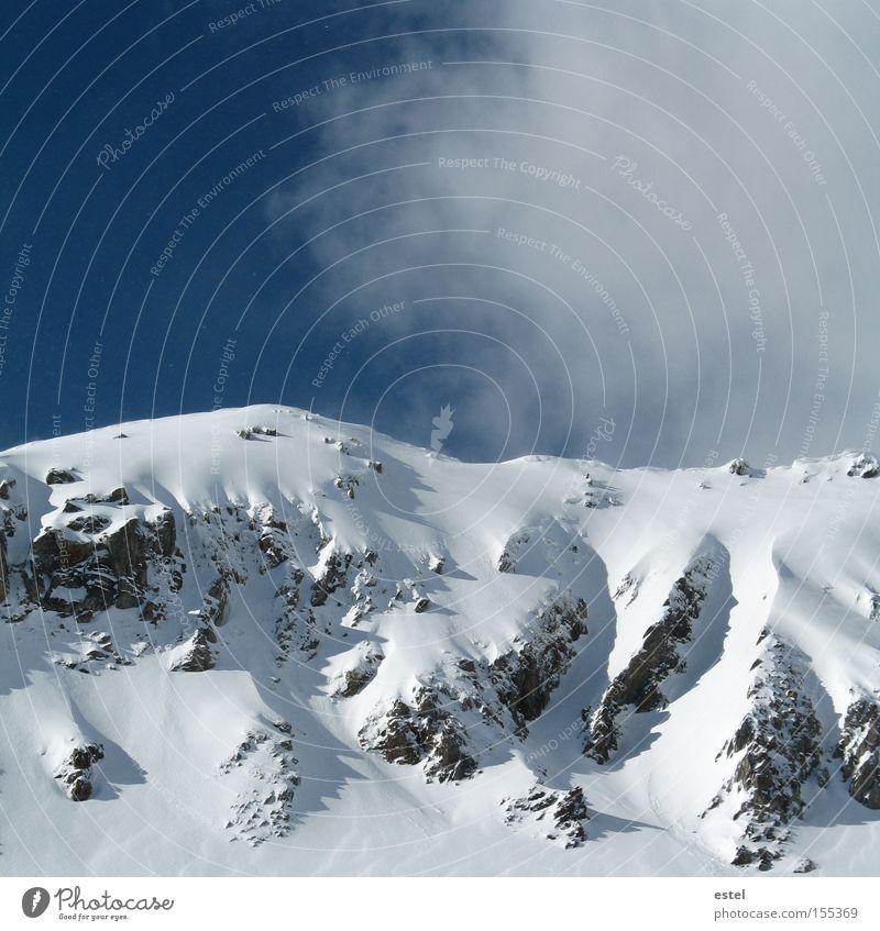 Snowdrifts I Alps Austrian Alps Clouds Blue White Mountain Glacier Winter Rock Ski run Fog Cold
