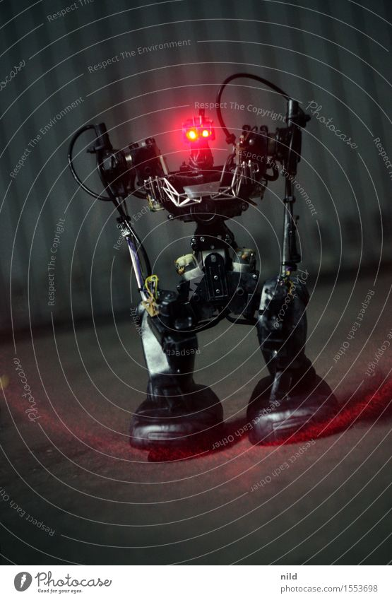 EXTERMINATES Leisure and hobbies Technology Advancement Future Robot 1 Human being Art Aggression Sharp-edged Red Black Might Fear Anger Animosity Threat