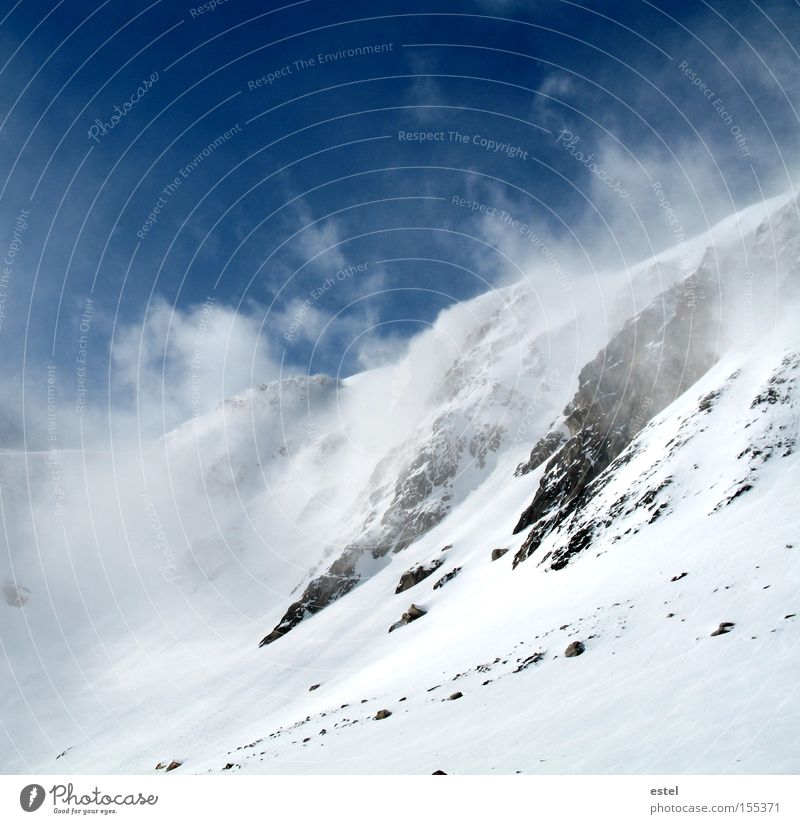 Snowdrifts II Alps Austrian Alps Snowfall Cold White Blue Ski run Wind Fog Mountain Glacier Stone Clouds Winter