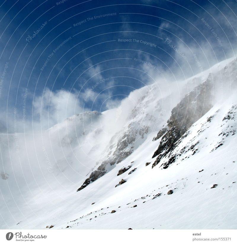 Snowdrifts II Alps Austrian Alps Snowfall Cold White Blue Ski run Wind Fog Mountain Glacier Stone Clouds Winter