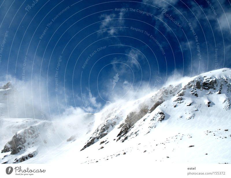 Snowdrifts III Winter Mountain Ski run Clouds Wind Fog Snowfall Alps Snowcapped peak Glacier Freeze Glittering Dream Cold Blue White Climate Nature Environment