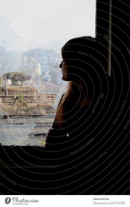 Break it open? Broken Window Far-off places Wanderlust Young woman Red-haired Profile Hope Shard Railroad tracks Woman